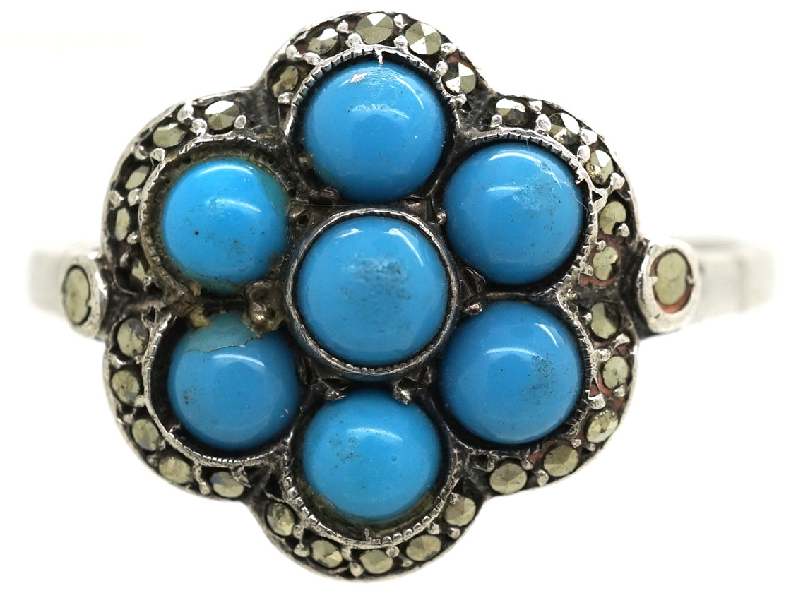 Art Deco Silver, Marcasite & Blue Glass Cluster Ring