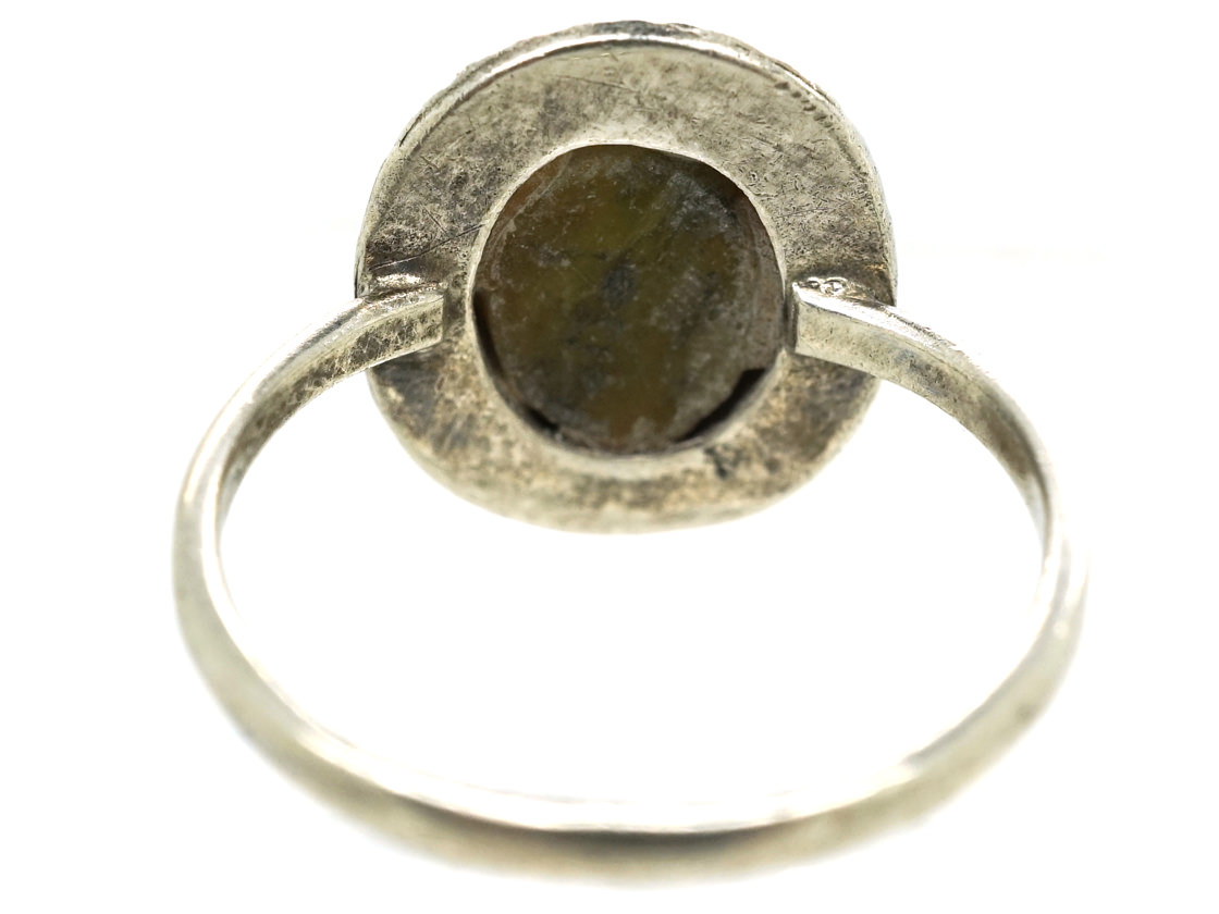 Silver, Connemara Marble & Marcasite Ring