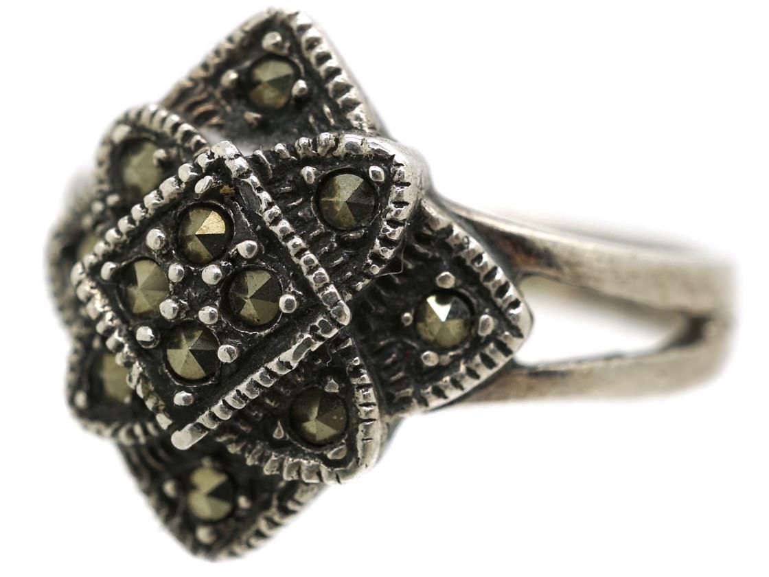 Art Deco Silver & Marcasite Diamond Shaped Ring