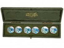 Art Nouveau Silver & Enamel Buttons by Liberty In Original Case