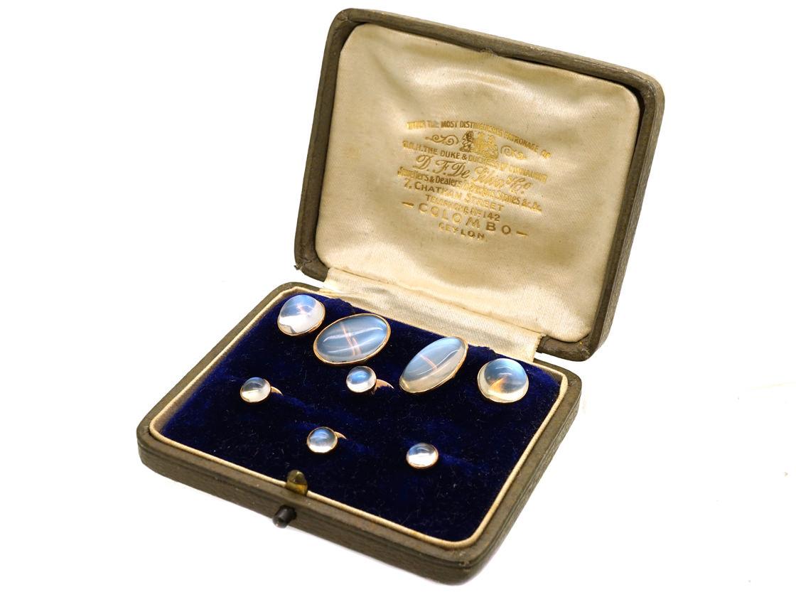 Edwardian 9ct Gold & Moonstone Dress Set In Original Case