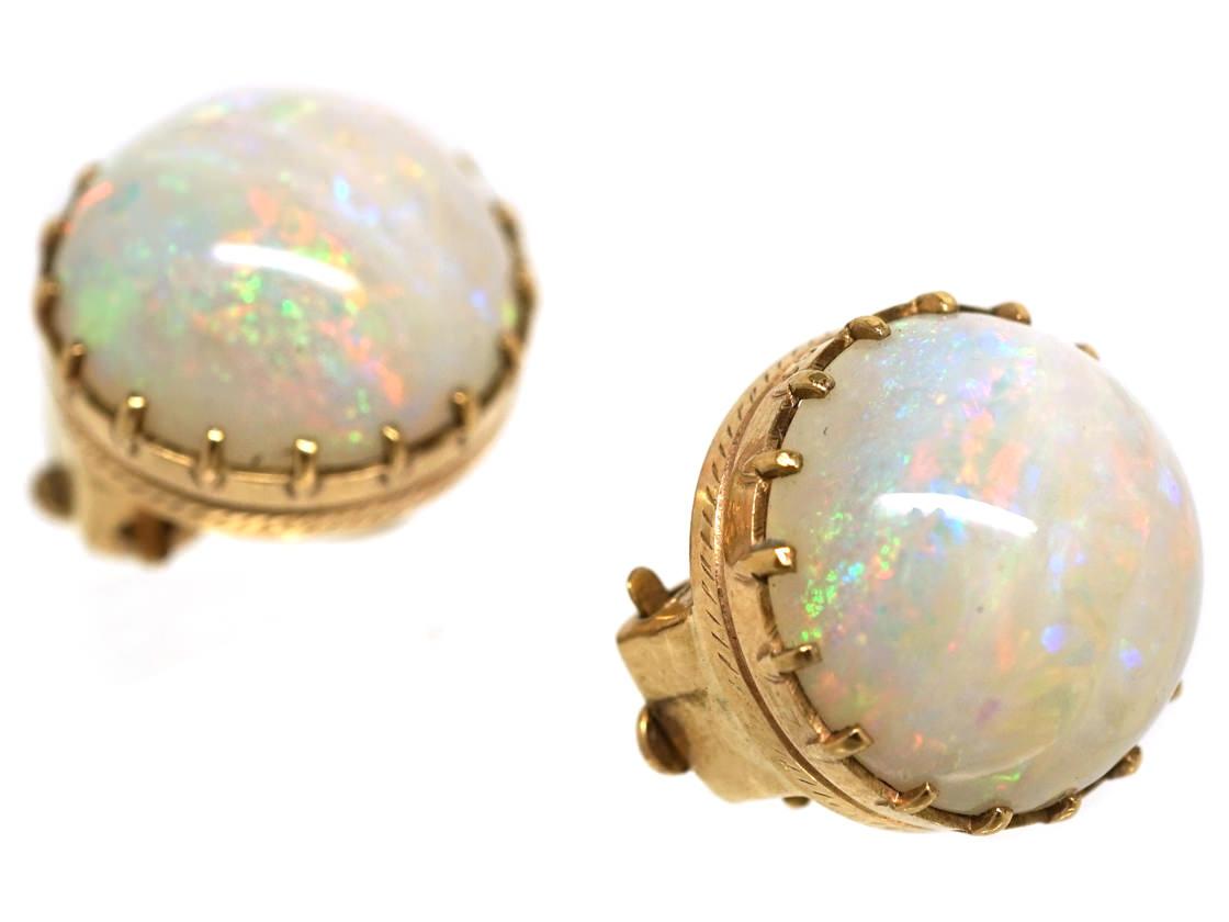 Edwardian 9ct Gold Round Opal Earrings