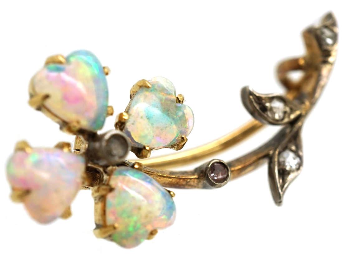 Edwardian 15ct Gold Heart Shaped Opal & Diamond Flower Brooch