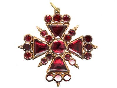 Georgian Gold & Flat Cut Garnet, Maltese Cross Pendant & Brooch