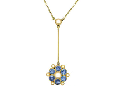 Edwardian 15ct Gold, Sapphire & Natural Split Pearl Pendant on Chain