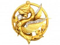 French 18ct Gold & Diamond Set , Nineteenth Century Dragon Brooch