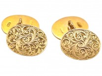 Victorian 9ct Gold Engraved Oval Cufflinks