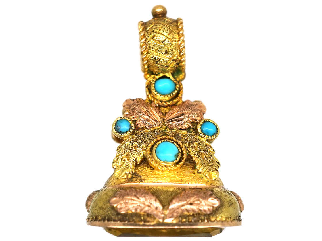 Regency Two Colour 15ct Gold Seal With Mary Engraved on a Citrine Base