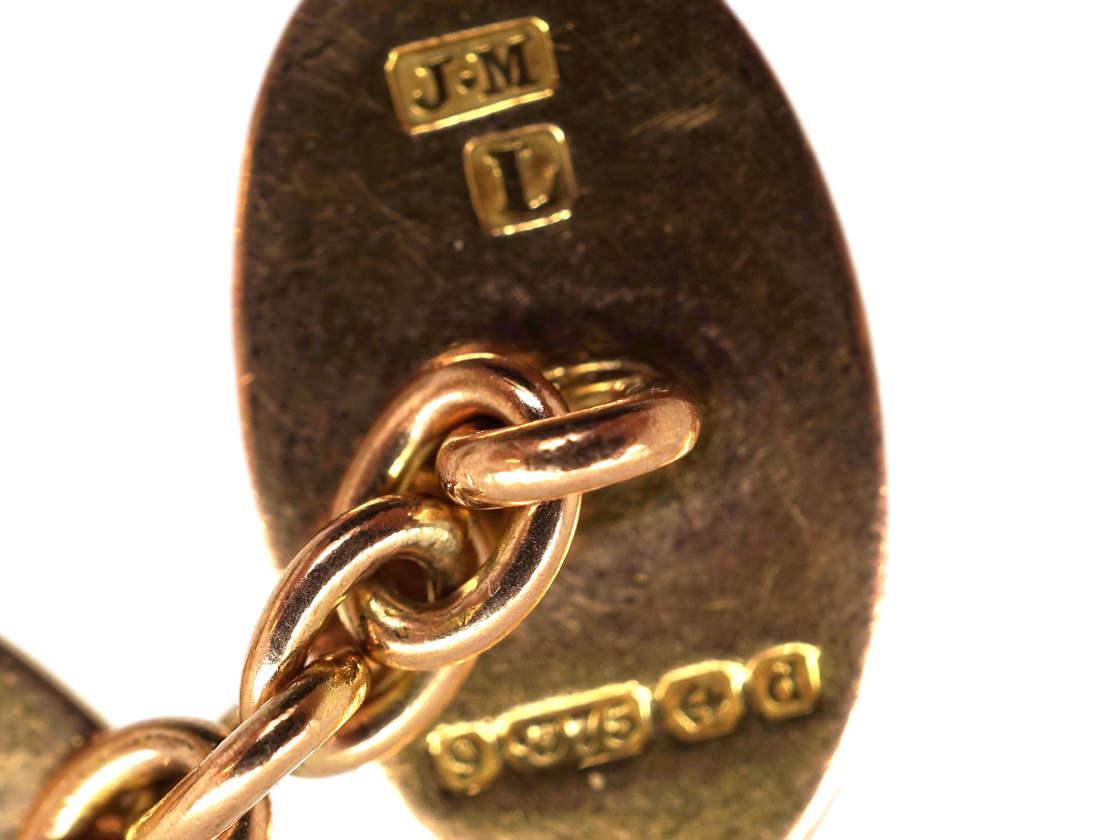 Edwardian 9ct Gold Oval Engraved Cufflinks