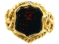 Victorian 18ct Gold & Shield Shaped Bloodstone Signet Ring