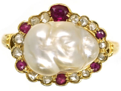 Edwardian 18ct Gold, Natural Pearl, Rose Diamond & Ruby Ring