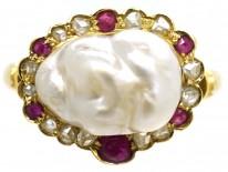 Edwardian 18ct Gold, Natural Pearl, Rose Diamond & Ruby Ring