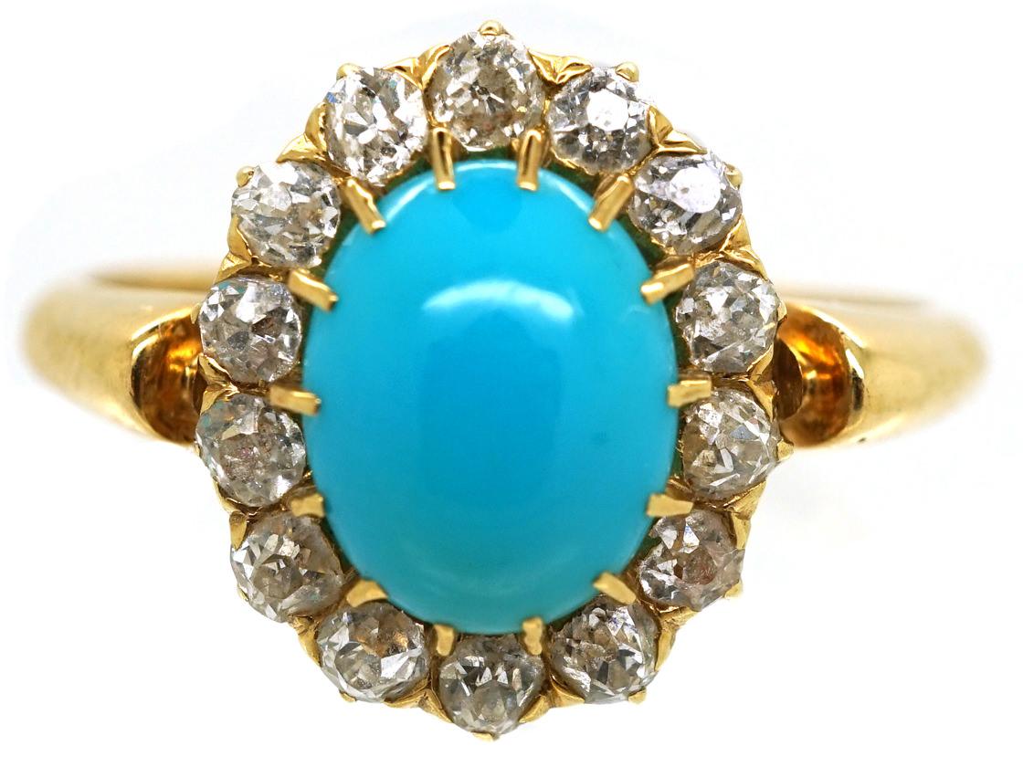 Edwardian 18ct Gold, Turquoise & Diamond Ring