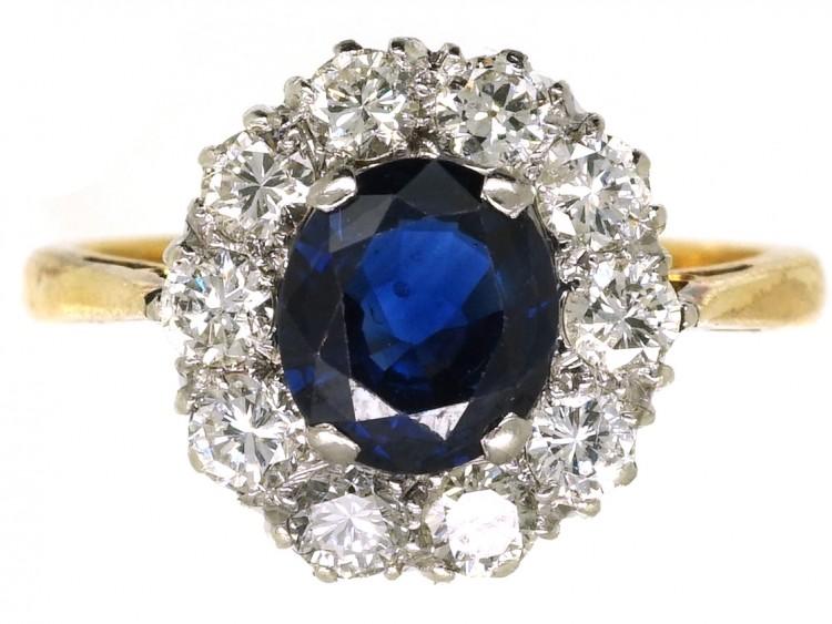 18ct Gold, Sapphire & Diamond Cluster Ring