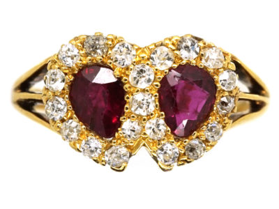 Edwardian 18ct Gold, Ruby & Diamond Double Heart Ring