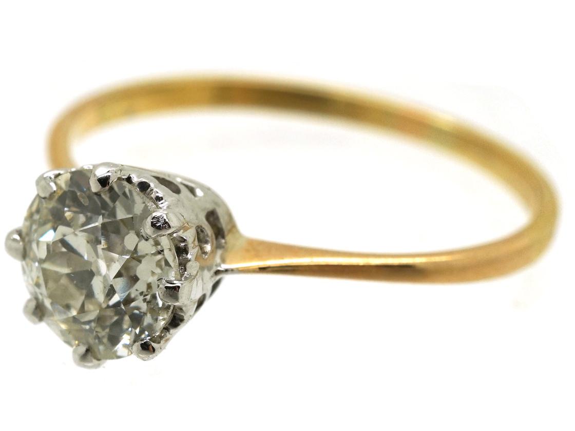 18ct Gold & Platinum Diamond Solitaire Ring