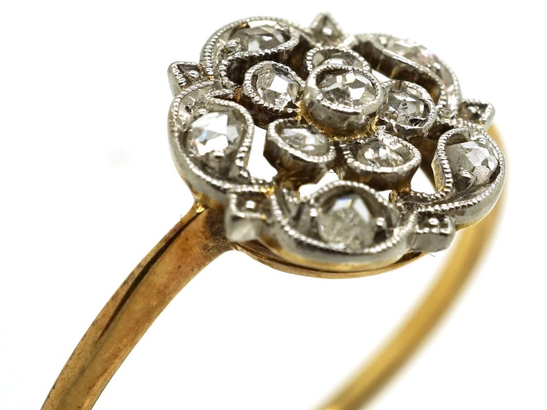 Edwardian 18ct Gold, Platinum & Rose Diamond Flower Ring