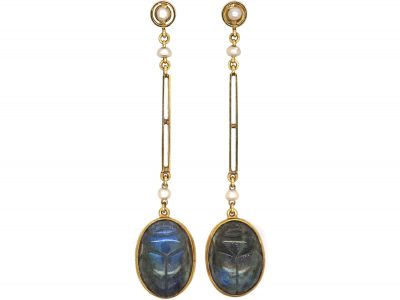 Art Deco 15ct Gold Egyptian Revival Labradorite Scarab Earrings