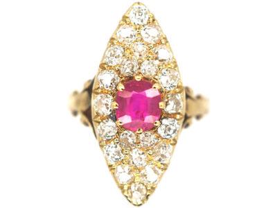 Edwardian 18ct Gold, Ruby & Diamond Marquise Ring