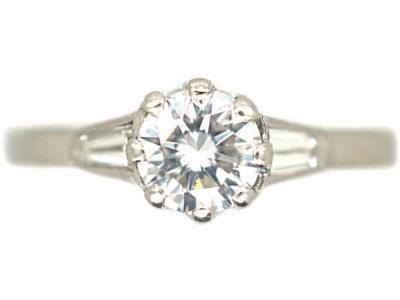 Millenium Platinum & Diamond Solitaire Ring With Diamond Baguette Shoulders