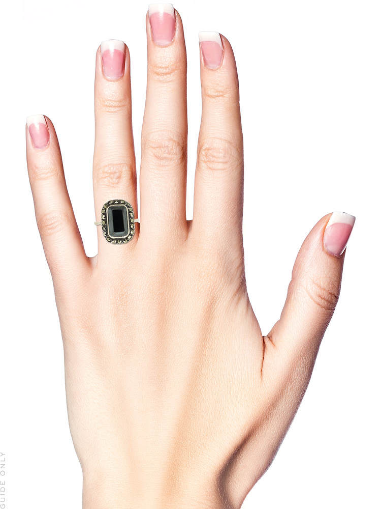 Art Deco Silver, Marcasite & Haematite Ring