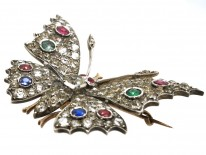 Victorian Silver & Paste Butterfly Tremblant Brooch and Hair Ornament in Original Case