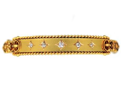 Victorian 15ct Gold Five Stone Diamond Bangle