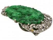 Art Deco Jadeite & Rose Diamond Clip
