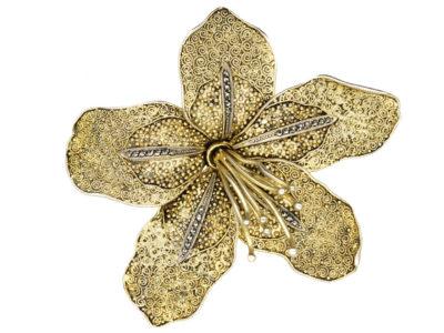 Theodor Fahrner Silver Gilt & Marcasite Flower Brooch