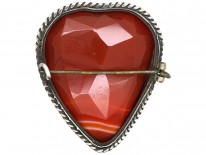 Scottish Silver & Faceted Carnelian Heart Brooch