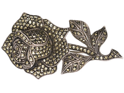 Silver & Marcasite Rose Brooch