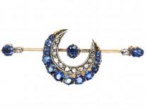 Victorian Sapphire & Diamond Crescent Brooch