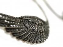18ct White Gold & Black Diamond Wing Earrings By Garrards