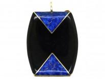 Art Deco 14ct Gold, Blue & Black Enamel Locket