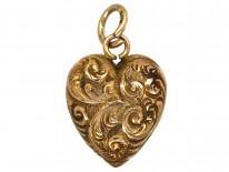 Victorian 9ct Gold Ornate Gold Heart Pendant