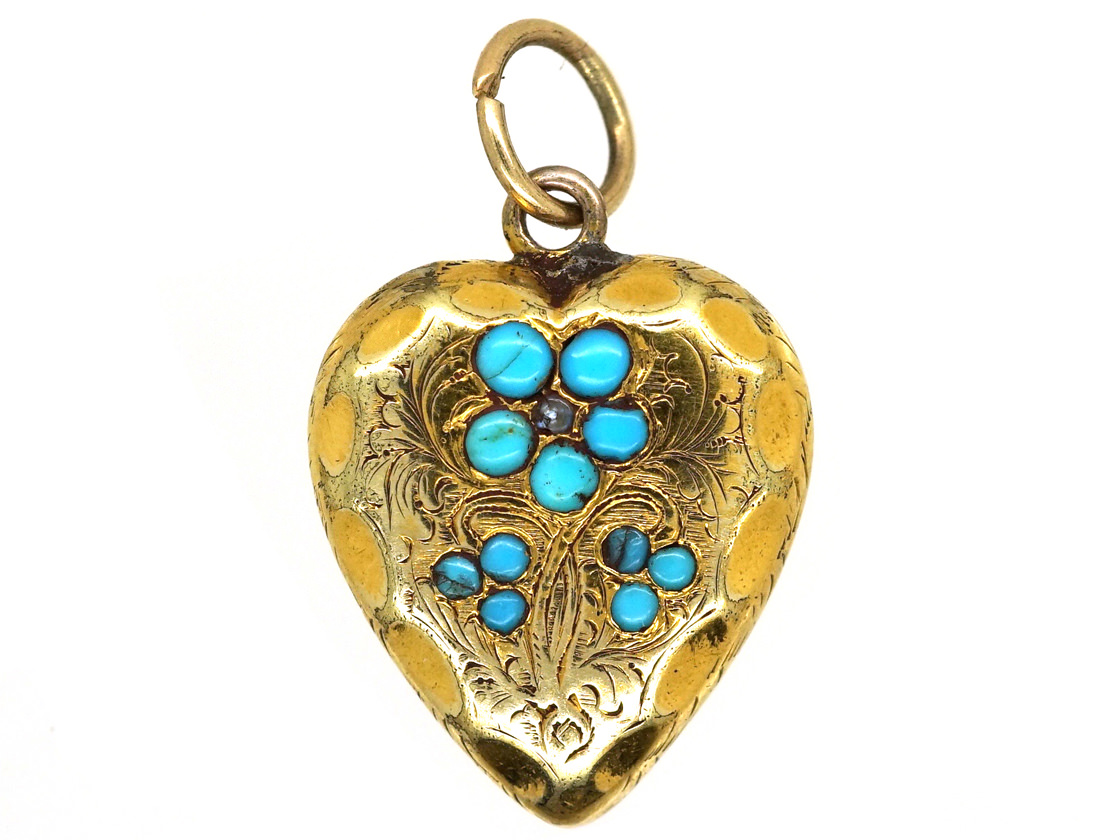 Late Georgian 15ct Gold & Turquoise Heart Shaped Forget Me Not Pendant