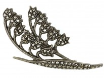 Silver & Marcasite Lily of the Valley Brooch