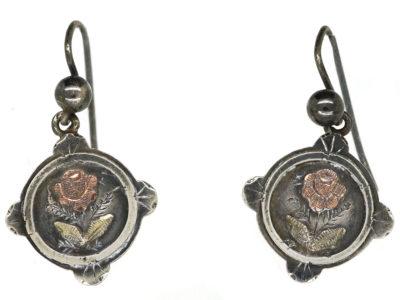 Victorian Silver & Gold Overlay Rose Motif Drop Earrings
