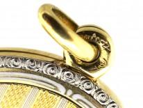 Austrian Art Deco Two Colour Gold Round Locket Set With Sapphire & Diamonds