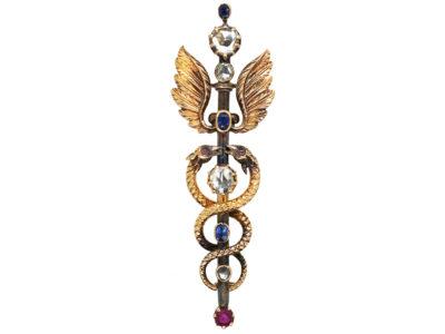 Victorian Rose Diamond, Ruby & Sapphire Caduceus Brooch
