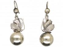 Victorian Silver Butterfly Drop Earrings