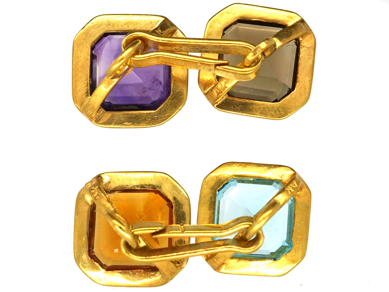 Art Deco 14ct Gold Multi Stone Cufflinks