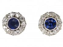 Art Deco Platinum, Sapphire & Diamond Cluster Earrings