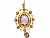 Edwardian 15ct Gold Amethyst & Natural Split Pearl Pendant