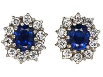 Sapphire & Diamond Oval Cluster Earrings