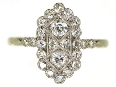 Art Deco 18ct Gold & Platinum, Diamond Rectangular Ring With Diamond Shoulders