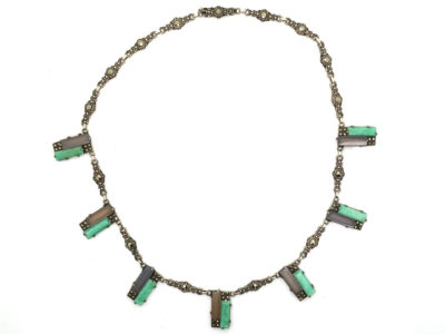 Art Deco Silver, Amazonite & Marcasite Necklace
