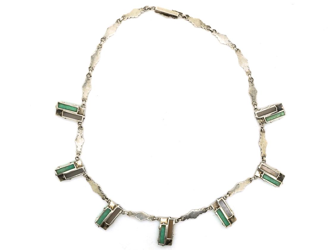 Art Deco Silver, Amazonite & Marcasite Necklace