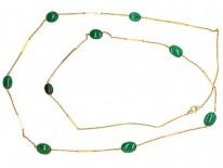 Edwardian 9ct Gold & Chalcedony Long Chain