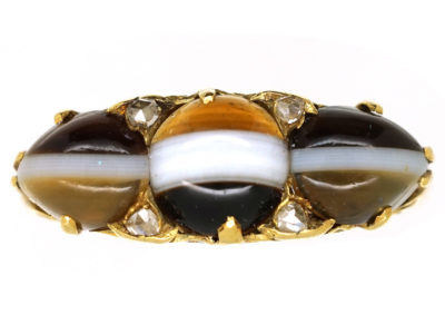 Victorian 18ct Gold, Banded Sardonyx & Rose Diamond Ring